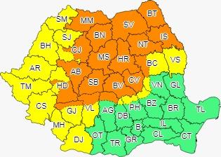MARAMUREȘ | Cod portocaliu de ploi torențiale și vânt